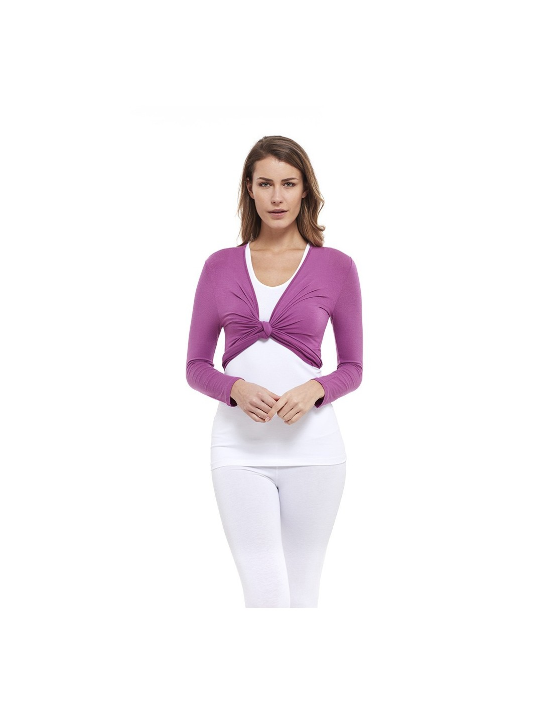 Wrap Top In Bamboo Radiant Orchid Yogaessential Made